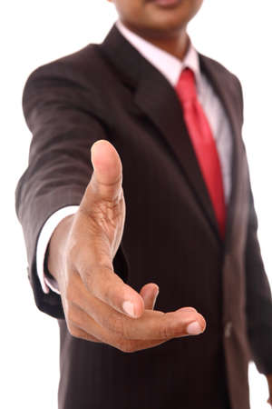 working model: Close-up portrait of a successful business man, gesturing a hand shake