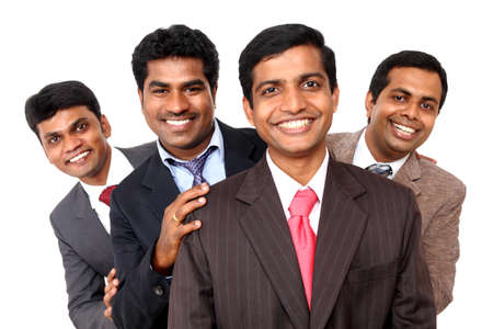 A smart Indian business team isolated on white.  photo