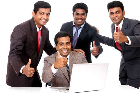 A Successful Indian business team isolated on white.  Stock Photo