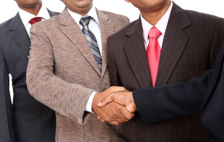 one on one meeting: Indian business people shaking hands  Stock Photo