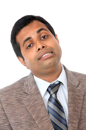 Indian business man portrait with expression isolated on white.  photo