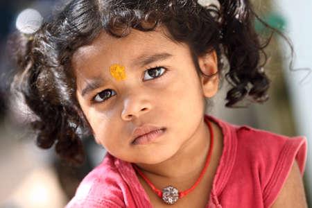look latino: Cute Indian little girl.  Stock Photo