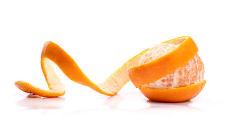 mandarin orange: Peel of an orange isolated on white background  Stock Photo