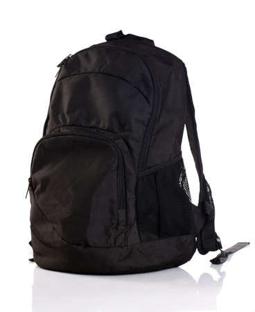 Black backpack on a white background  photo
