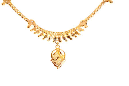 gold necklace: gold necklace isolated on white.  Stock Photo