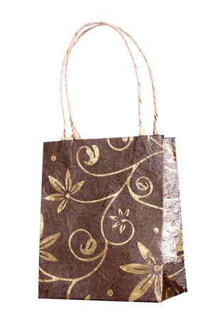 Decorated shopping bag isolated on white background  photo