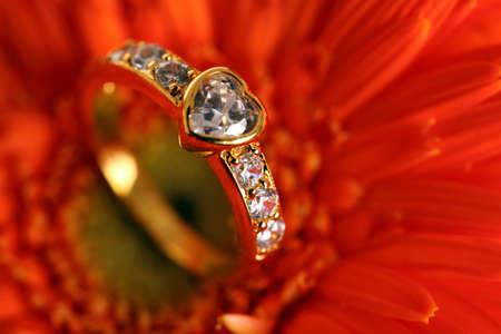elaborate: Diamond Ring on flower background.  Stock Photo