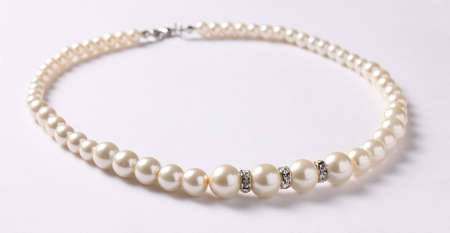 Pearl Necklace on white  photo