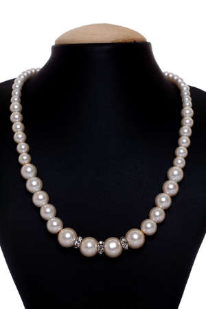 Pearl Necklace isolated on white  photo