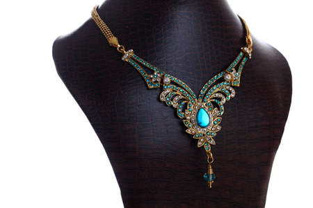antique jewelry: Luxury golden necklace isolated on white
