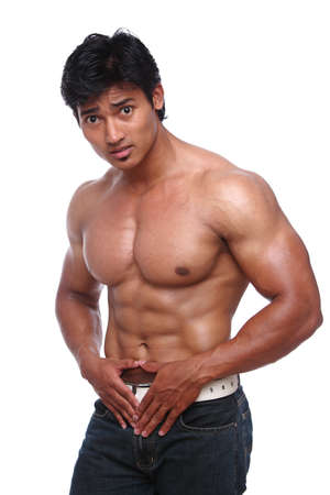 asian bodybuilder: Indian young fitness man posing to the camera