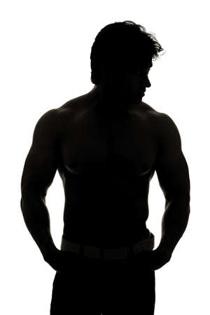 Indian young fitness man taken with silhouette Stock Photo - 12361603