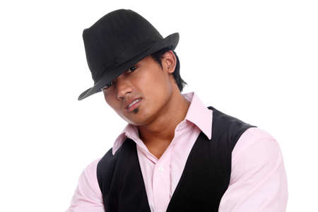 Indian young businessman posing with hat isolated on white. photo