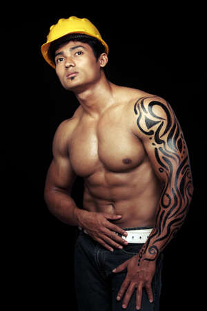 asian abs: Indian young fitness man posing to the camera