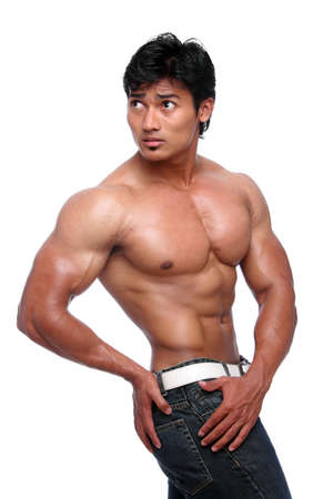 Indian young fitness man posing on white  photo