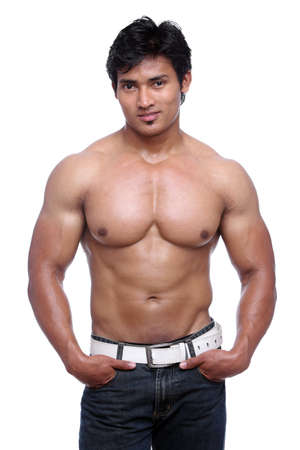 male model torso: Indian young fitness man posing to the camera