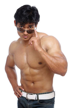 Indian young fitness man posing to the camera   photo