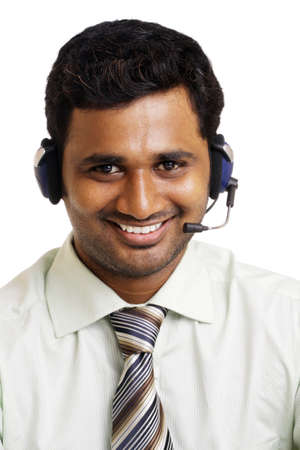 Indian young working in call center  Isolated on white background   photo