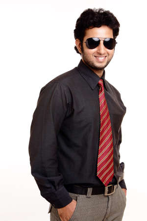 Indian young businessman posing isolated on white  photo