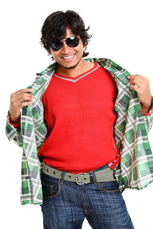 indian male: Indian young man posing with expression on white