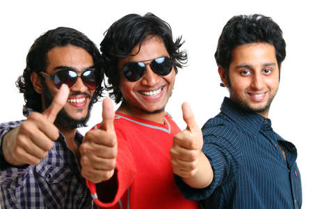 indian hair: Group of Indian young people posing casually to the camera