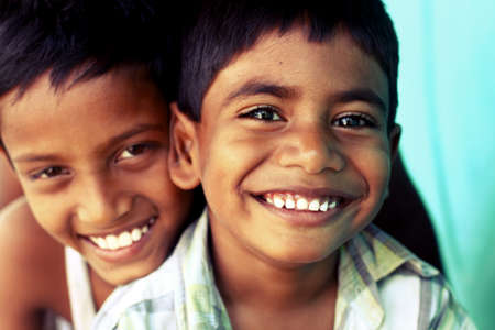 Two Indian teen boys posing to the camera  Stock Photo