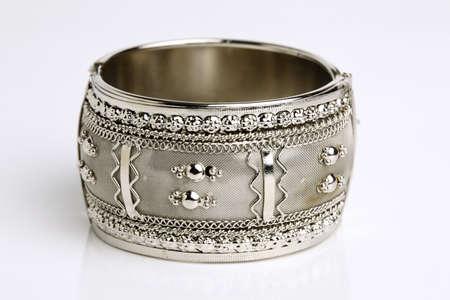Silver bracelet isolated on white background  Stock Photo - 12681926