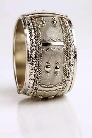 armlet: Silver bracelet isolated on white background
