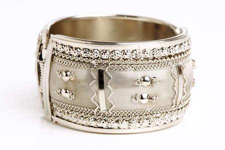 bangle: Silver bracelet isolated on white background