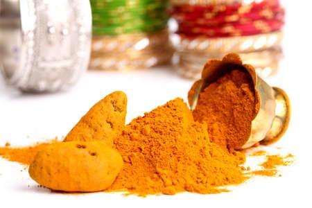 turmeric powder , indian spice  photo