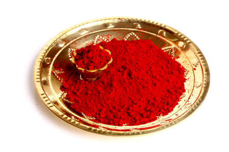 indian cookery: Plate with kumkum powder
