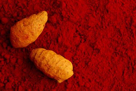 curcumin: turmeric on kumkum powder , indian spice