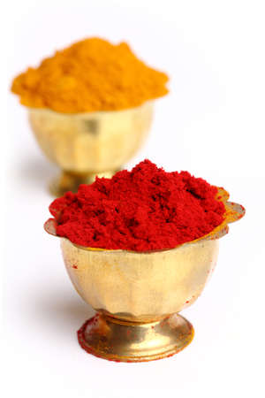 turmeric   kumkum powder , indian spice  photo