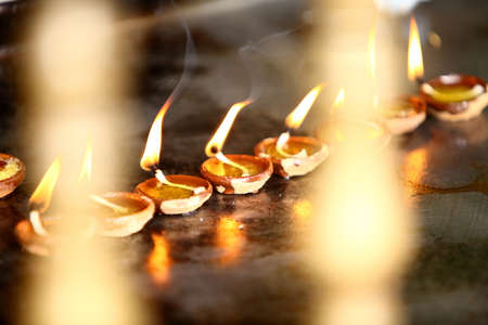 Coconut oil lamps in kapaleeswarar temple, chennai ,India   photo