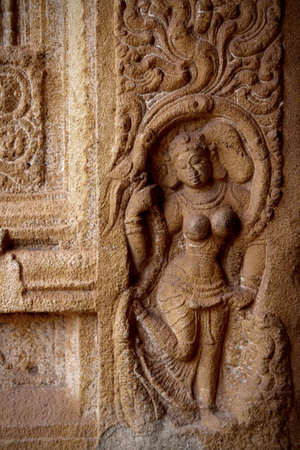 Stone carvings in Ancient Hindu temple,Thanjavur, Tamil Nadu, India  photo
