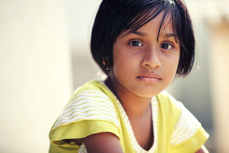 girl face close up: Cute Indian little girl  Stock Photo