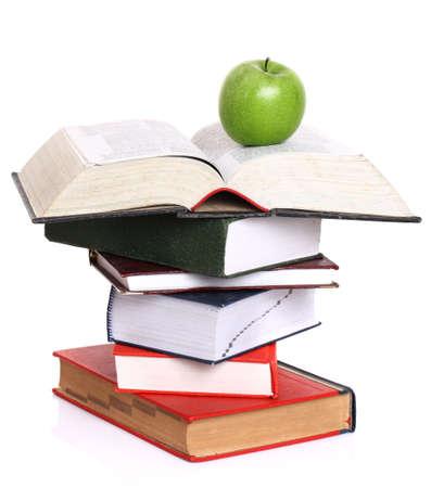 director de escuela: los libros y la manzana sobre un fondo blanco
