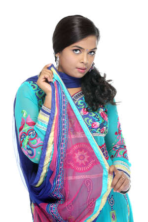 wearied: Indian Beautiful girl wearied Indian traditional churidar on white background