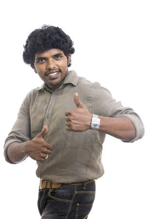 Indian young man showing thumbs up  photo