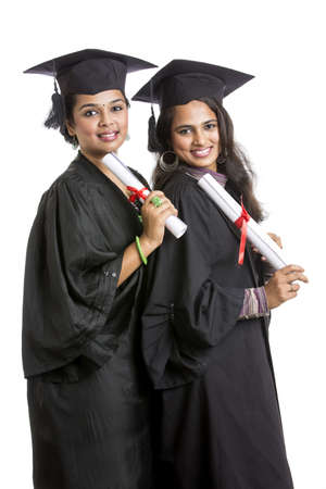 beautiful woman portrait: Indian graduation young womans on white background. Stock Photo