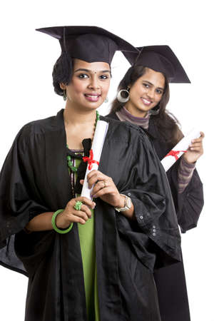 Indian graduation young womans on white background. photo