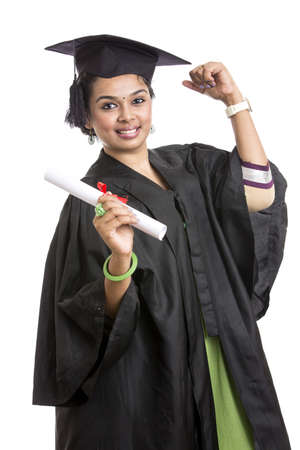 Indian graduation young woman on white background. photo
