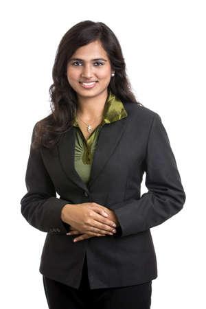fille indienne: Femme d'affaires positif souriant sur fond blanc