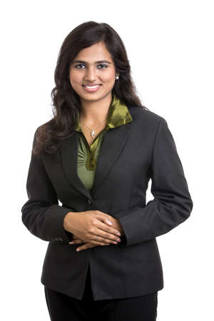 fondo blanco: Mujer de negocios positiva que sonr�e sobre el fondo blanco
