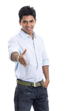 Smart Indian young man welcoming on white  photo