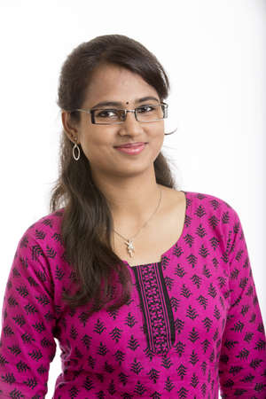 wearied: Indian Beautiful girl wearied Indian traditional churidar on white background. Stock Photo