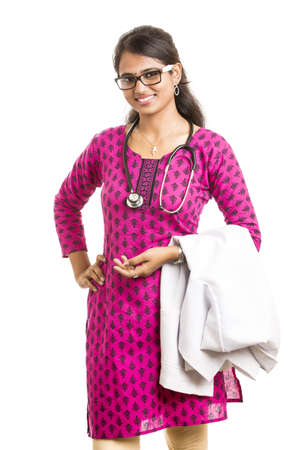general pediatrician: Indian young female doctor on white. Stock Photo