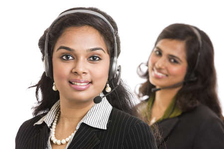 Attractive young people working in a call center Stock Photo - 18162833