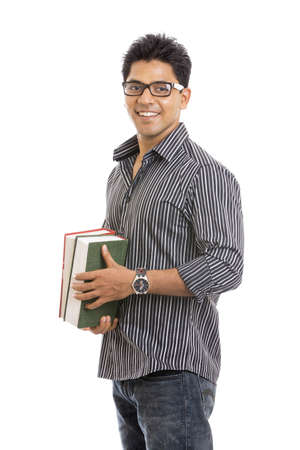 handsome student: Indian young student carrying books on white  Stock Photo