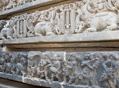 soapstone: Musicians and mythical animals carved on the walls of Hoysaleshwara temple at Halebidu, Hassan district, Karnataka state, India, Asia Stock Photo